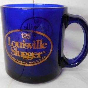 125 Louisville Slugger Glass Coffee Mug Cup Cobalt
